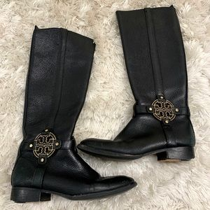 Tory Burch Black Pebbled Leather Riding Boots